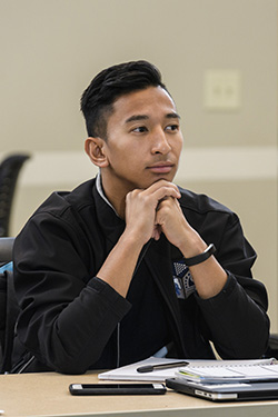 photo of a student in class