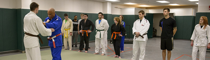 photo of students and an instructor in judo class