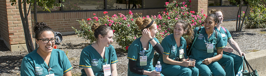 photo of student nurses on campus
